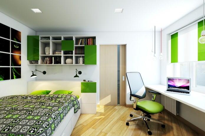 chambre dans la conception d'un appartement de deux pièces dans une maison à panneaux