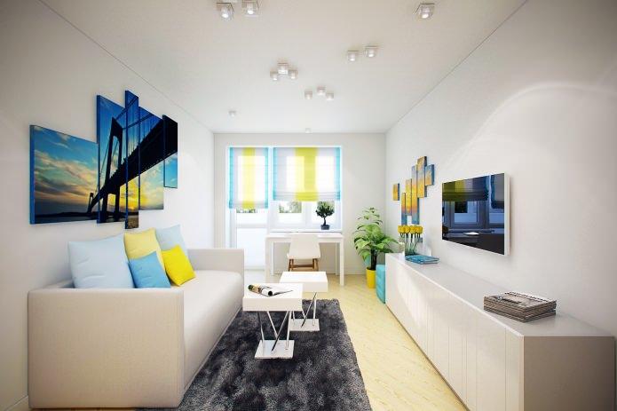 salon à l'intérieur d'un appartement de 46 m².  m.