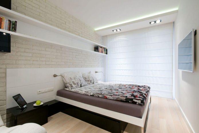 chambre dans la conception de l'appartement aux couleurs claires
