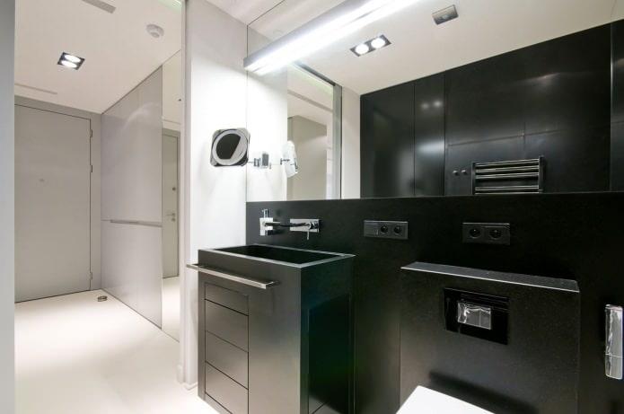 conception de salle de bain en noir et blanc