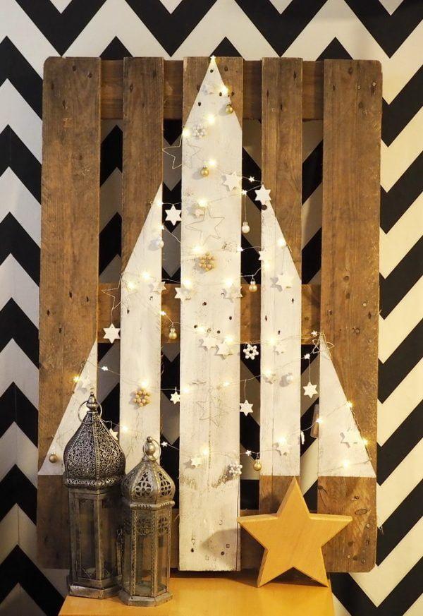 Arbre de Noël dessiné sur une palette
