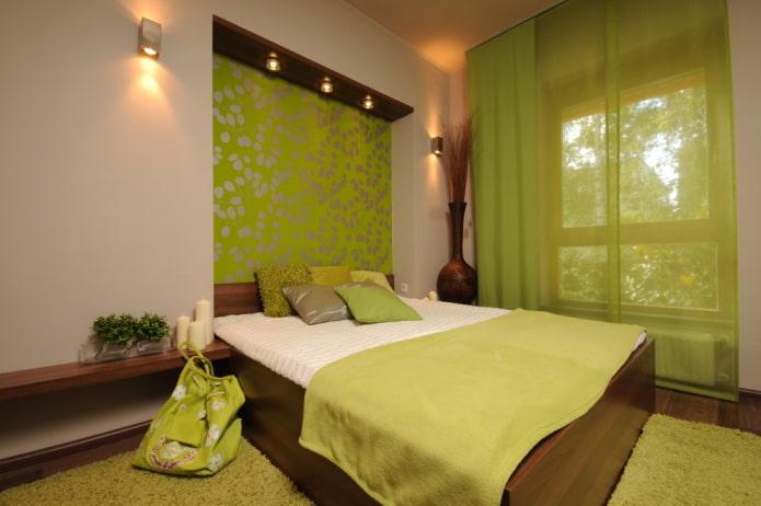 combinaison de couleurs à l'intérieur de la chambre dans des tons verts