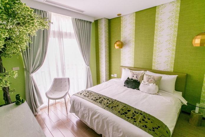 décorer la chambre dans des tons verts