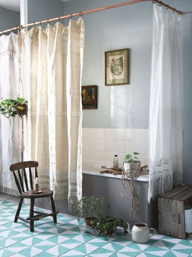 Tringle à rideaux d'angle pour rideaux de style bohème