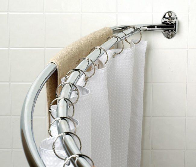 Tringle à rideaux double chrome pour rideaux de salle de bain