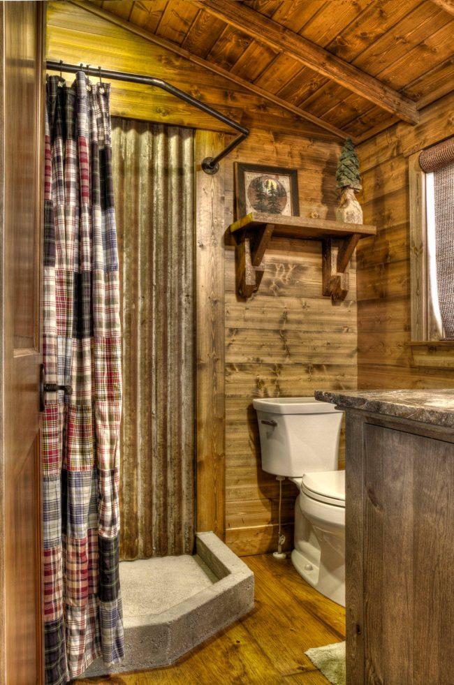 Cabine de douche d'angle avec base en béton de style campagnard