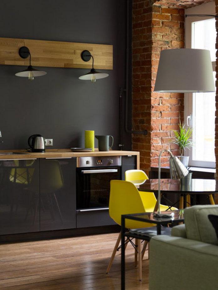Cuisine-séjour avec set IKEA