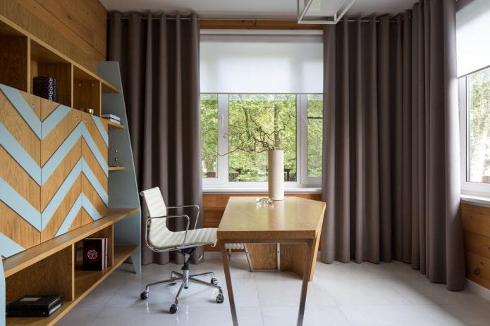 rideaux à l'intérieur du bureau