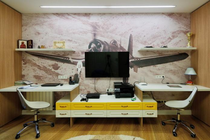 papier peint à l'intérieur du bureau