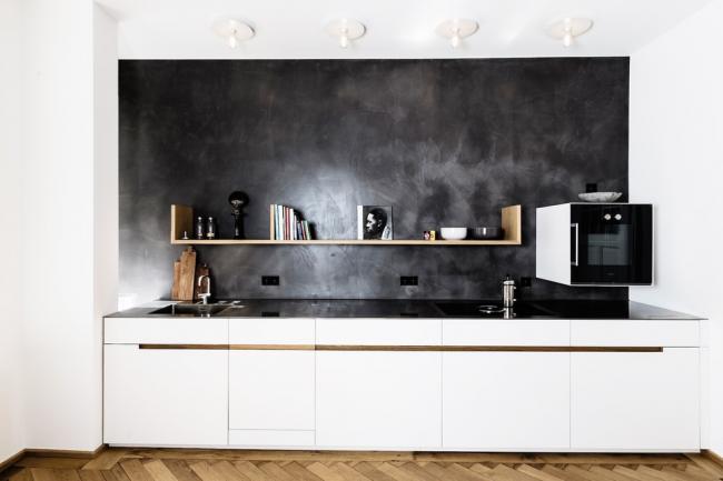 Intérieur noir et blanc élégant dans un style moderne
