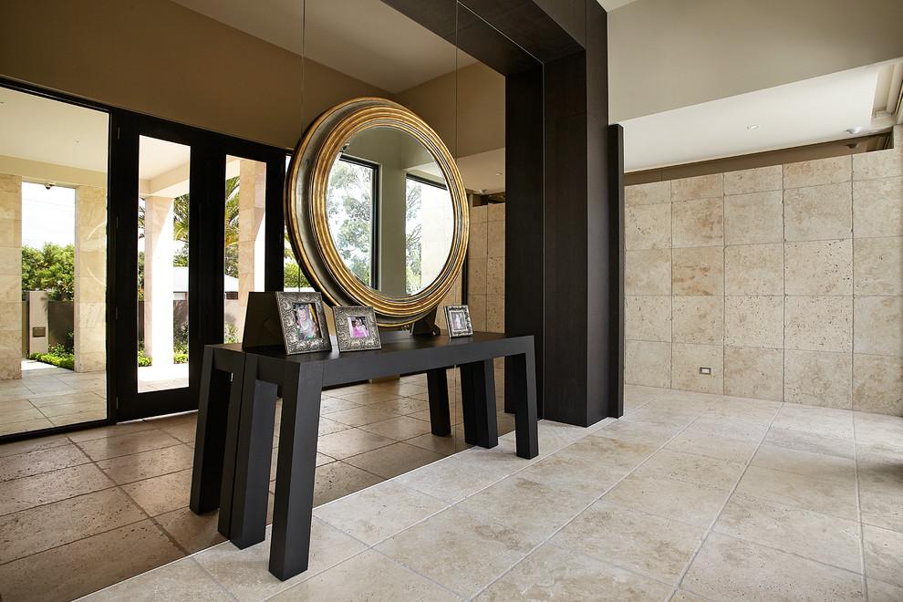 Table console avec beau miroir rond