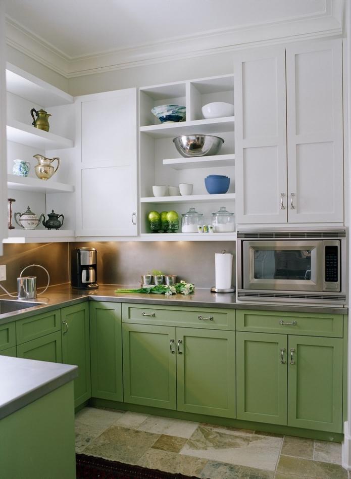 cuisine blanche et pistache