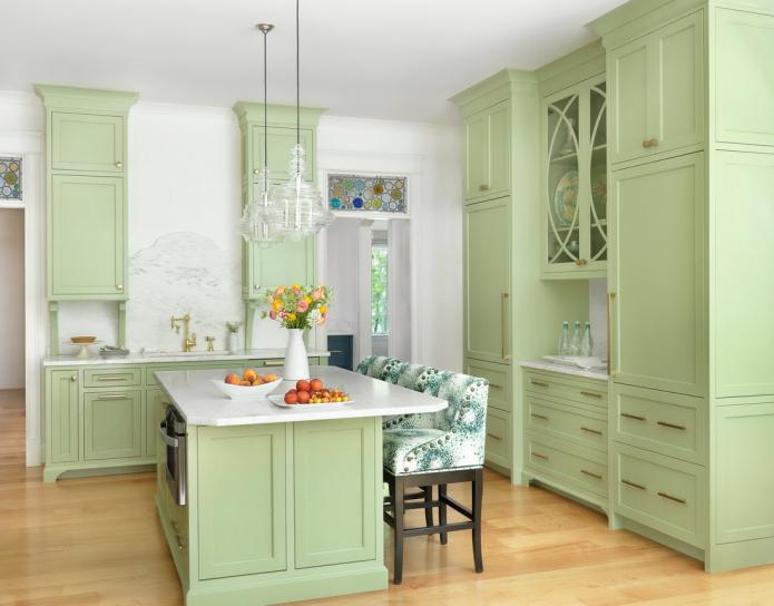 set de cuisine vert clair