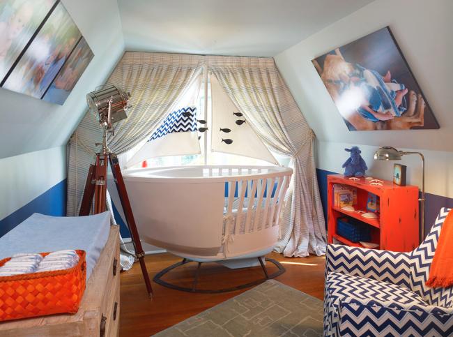 Chambre d'enfant originale avec lit bateau