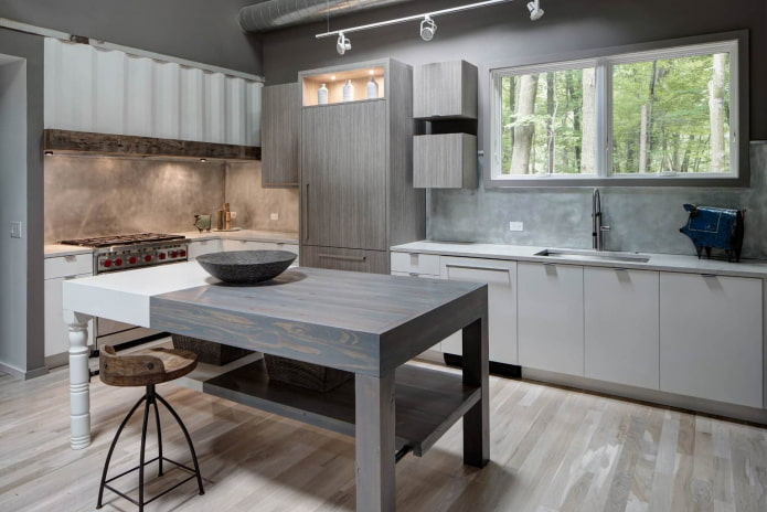 cuisine de style industriel avec armoires grises et armoires blanches