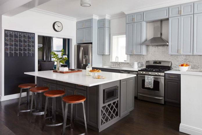 cuisine avec plusieurs nuances de gris dans le mobilier et les murs
