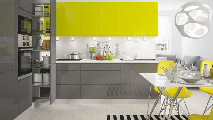 cuisine high-tech jaune-gris-blanc