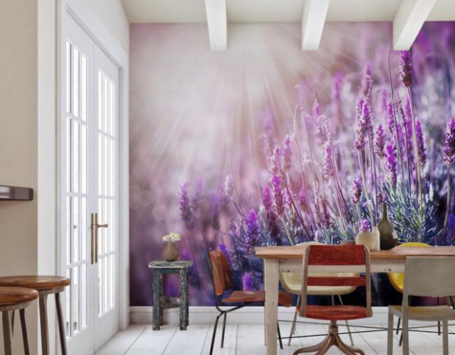Décoration murale colorée dans la salle à manger