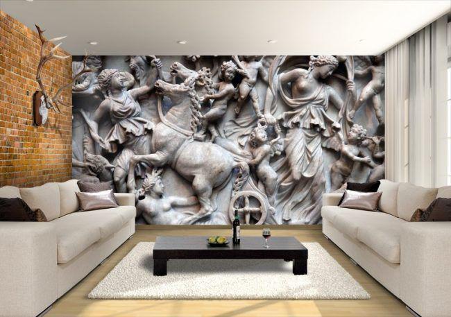Décoration murale dans le salon avec des motifs anciens