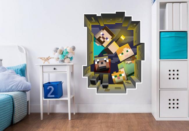 Une image sur le mur d'un fragment d'enfant du jeu Minecraft