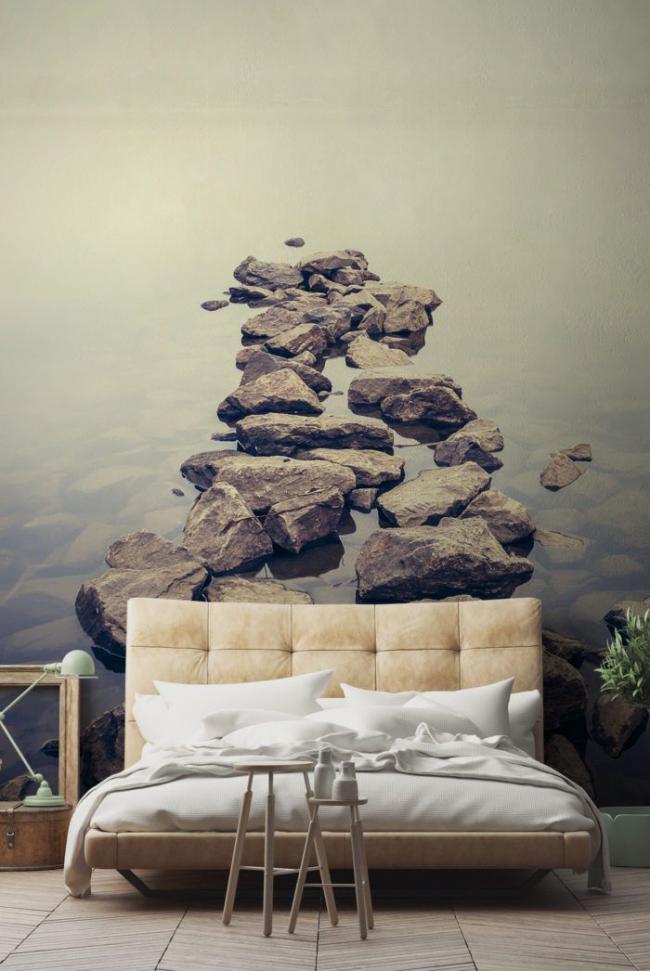 Ambiance paisible et paisible dans la chambre grâce au papier peint photo