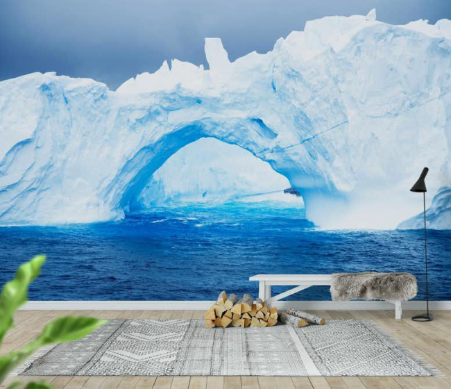 Hall d'entrée spacieux avec une photo sur le mur des glaciers