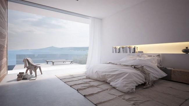 Fenêtre sur tout le mur dans la chambre de style minimalisme