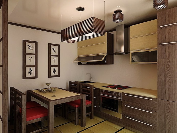 meubles et appareils électroménagers à l'intérieur de la cuisine de style japonais