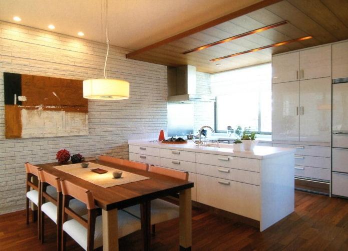 éclairage et décoration à l'intérieur de la cuisine de style japonais