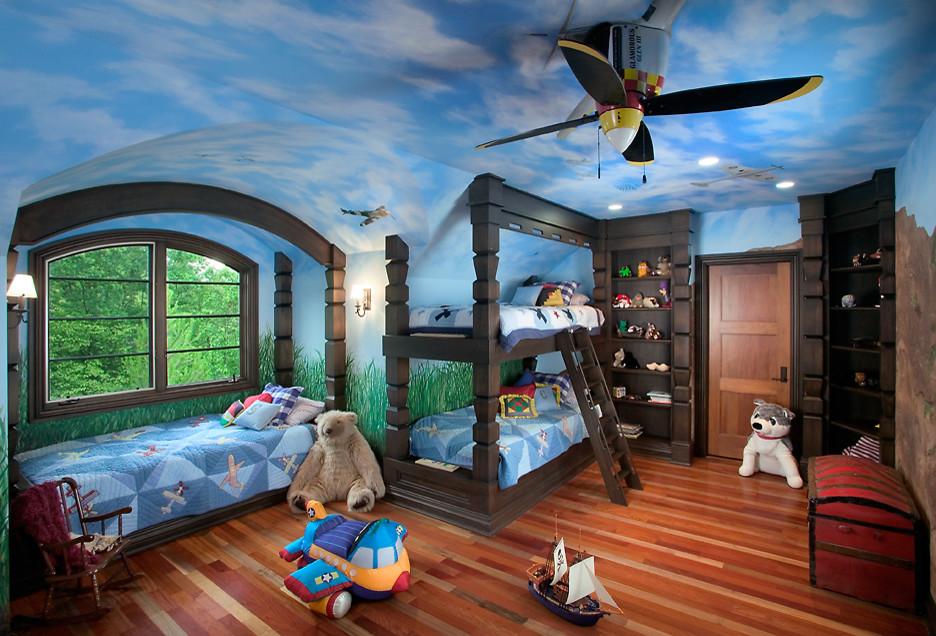 Une version intéressante du design du plafond dans la pépinière, les avions qui planent dans le ciel sont un rêve d'enfant, incarné par le talent et l'imagination du designer