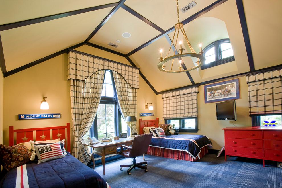 Les murs et le plafond peints en beige créeront une atmosphère calme et confortable dans la chambre des enfants, quel que soit le temps et la saison.