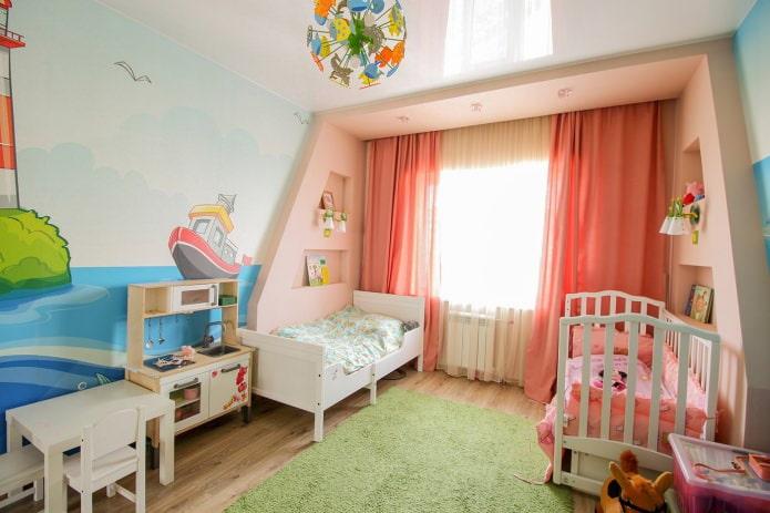 plafond tendu dans la chambre des enfants