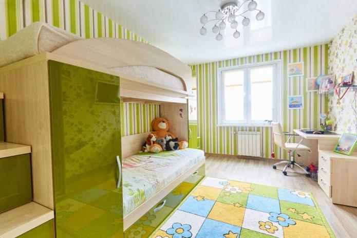 Plafond tendu de plain-pied dans une chambre d'enfant