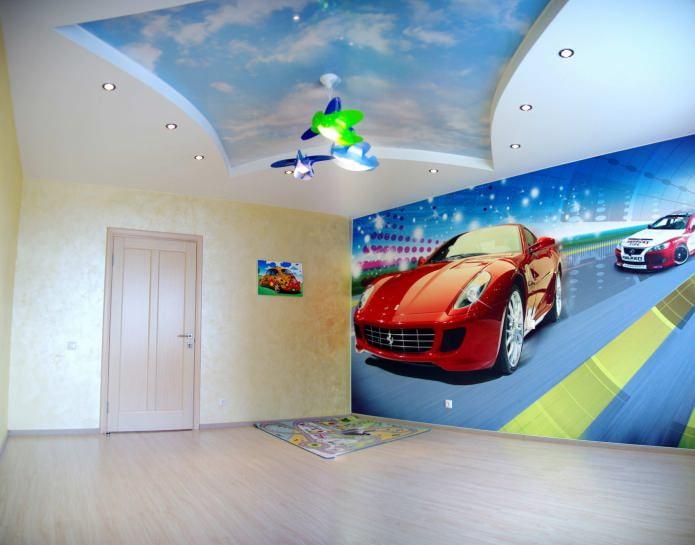 plafond tendu avec impression photo dans la chambre des enfants