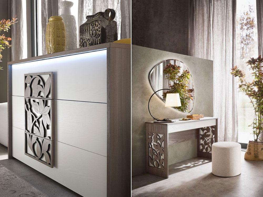 Version design de la table avec une façade décorée de manière expressive.  Un tel meuble, associé à un miroir de forme inhabituelle, peut être le centre d'attention de la chambre à coucher ; possibilité de placer une zone de guidage marathon dans le dressing, s'il y en a une