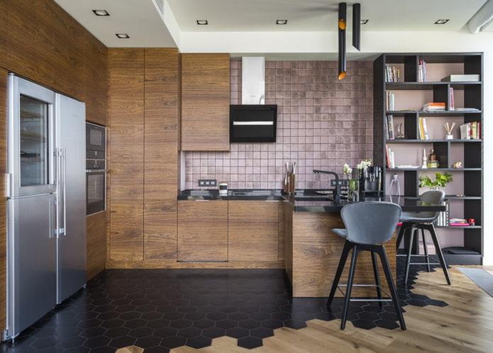combinaison de stratifié et de carrelage à l'intérieur de la cuisine