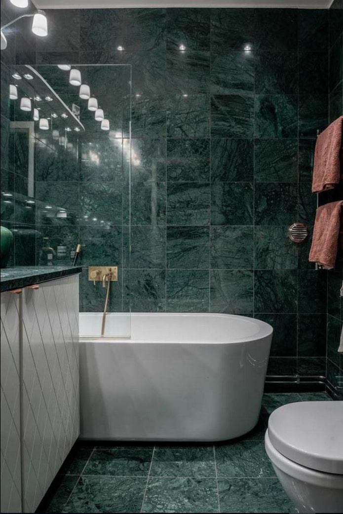 salle de bain en marbre vert