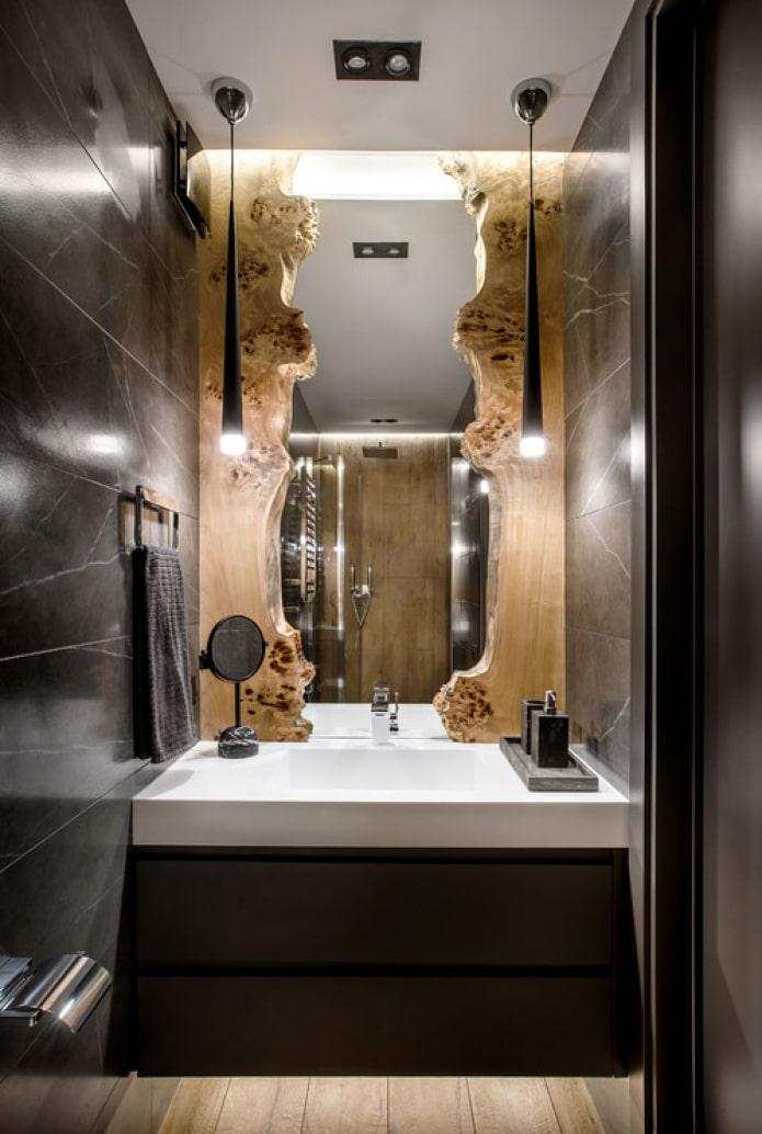 salle de bain en marbre noir