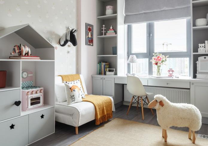 table de rebord de fenêtre avec tiroirs