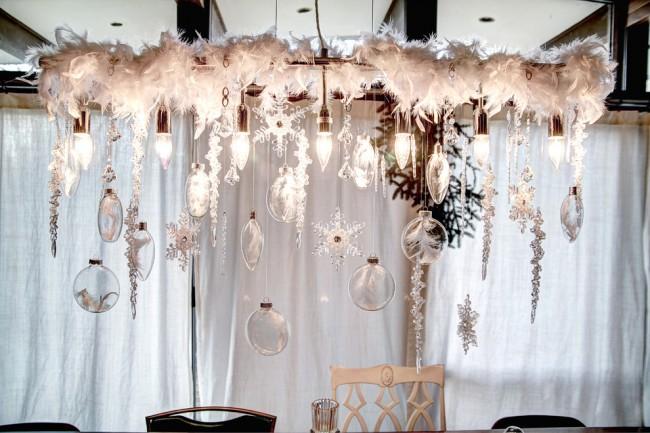 Thème neige pour déco de salon et salle à manger d'hiver : plumes duveteuses et flocons de neige en papier