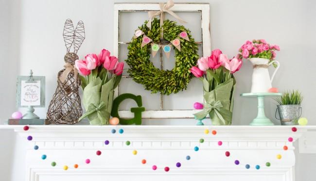 Décor de Pâques moderne ennuyeux et positif