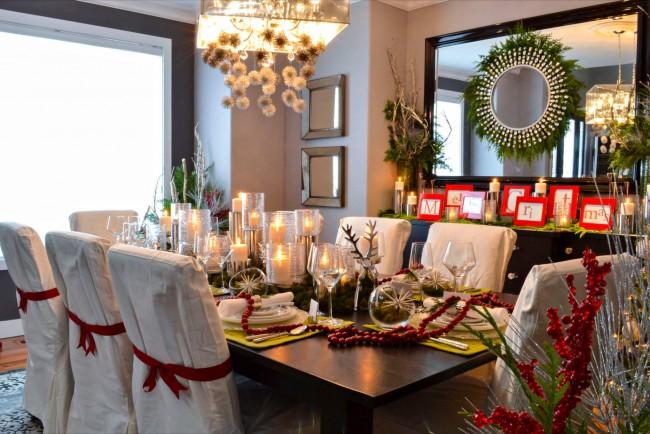 Décor de salle à manger luxueux pour la célébration du nouvel an