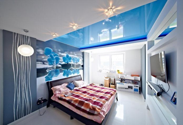 Combinaison de plaques de plâtre avec un plafond tendu