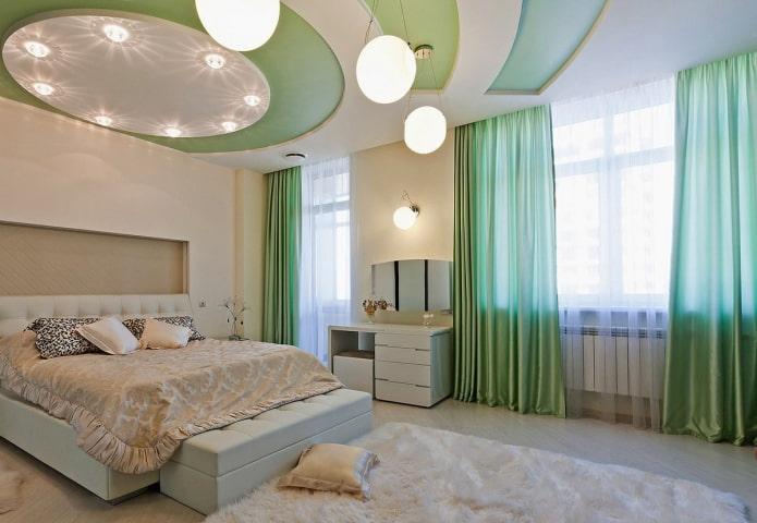 plafond en blanc et vert