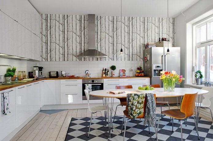 chaise à l'intérieur de la cuisine dans le style scandinave