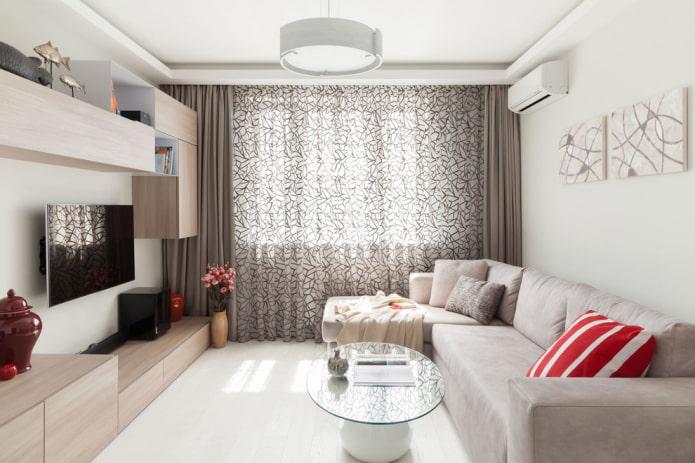 Canapé d'angle dans un salon blanc comme neige
