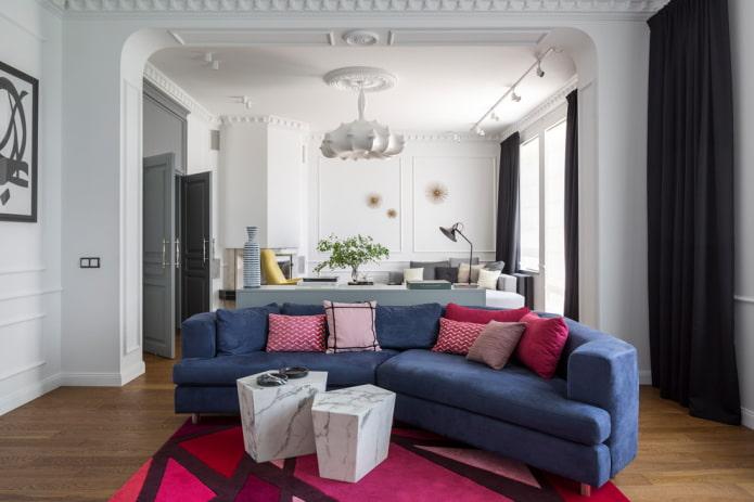 Canapé bleu demi-cercle