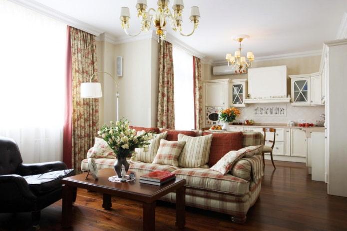 canapé à carreaux aux couleurs apaisantes