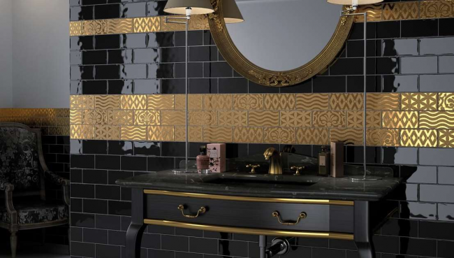 Salle de bain luxueuse en noir