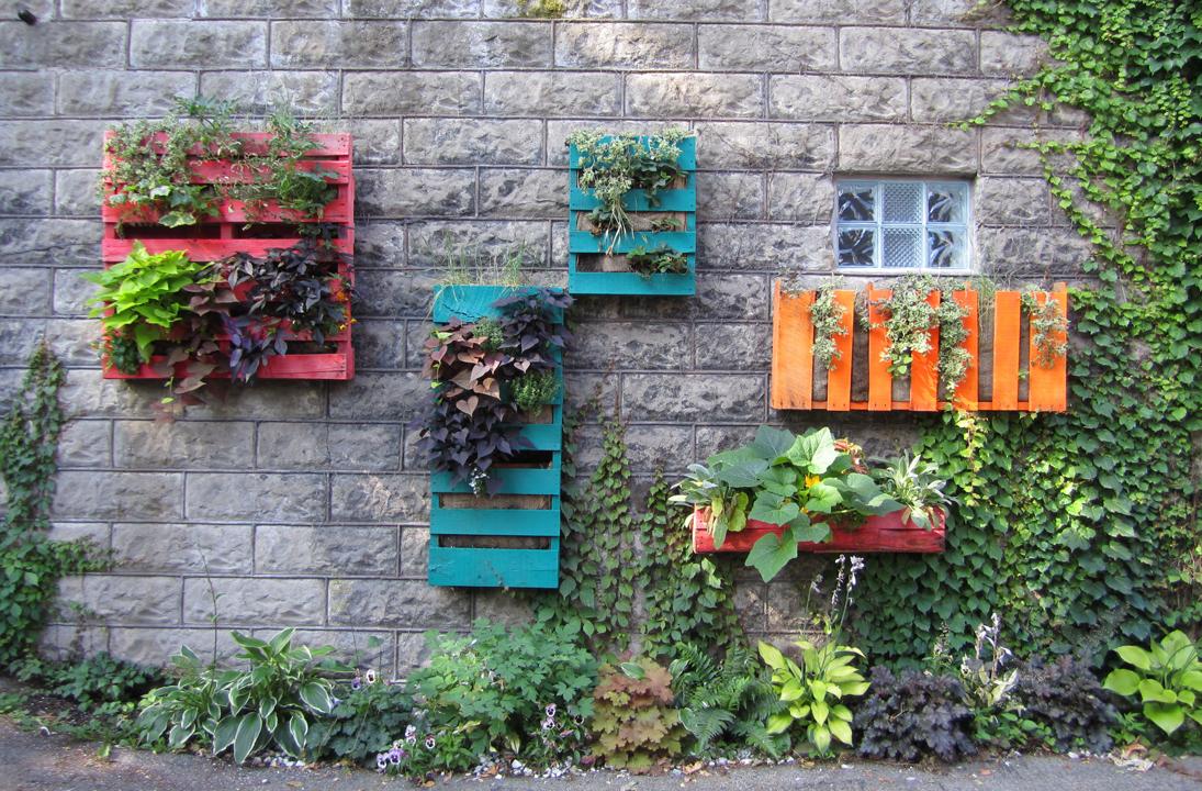 Décoration de façade de maison - boîtes colorées avec des fleurs